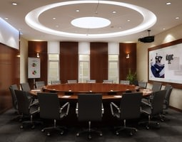 3d elegant conference room with round table