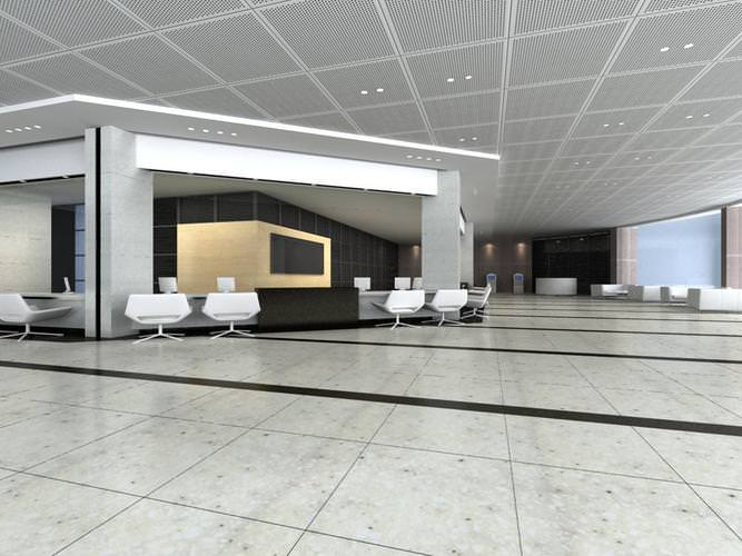 Office With Marble Floor And False Ceiling 3D Model MAX