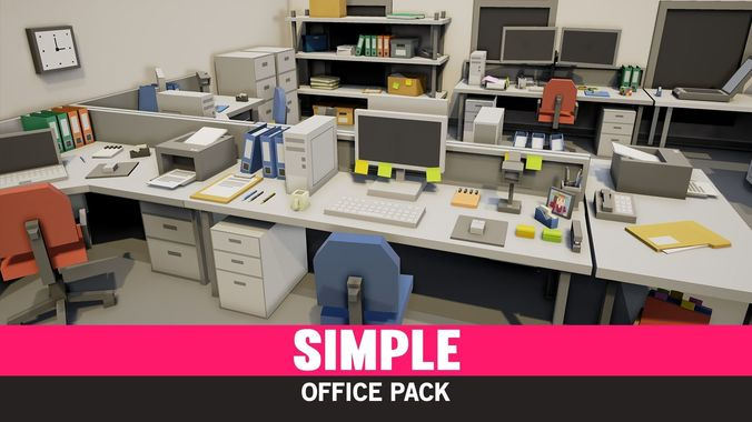 simple office interiors - cartoon assets 3d model low-poly fbx mat prefab 1