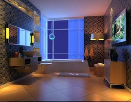 luxurious bathroom with tv 3d model