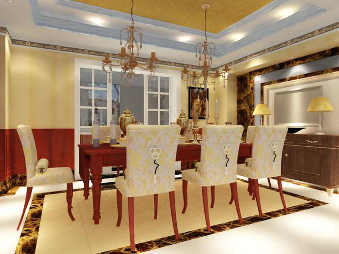 Dining room with designer table and chairs 3d model max for Dining room 3d max model
