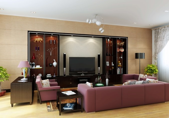 3d model living hall with wall showcase cgtrader - Living room design ideas and photos ...