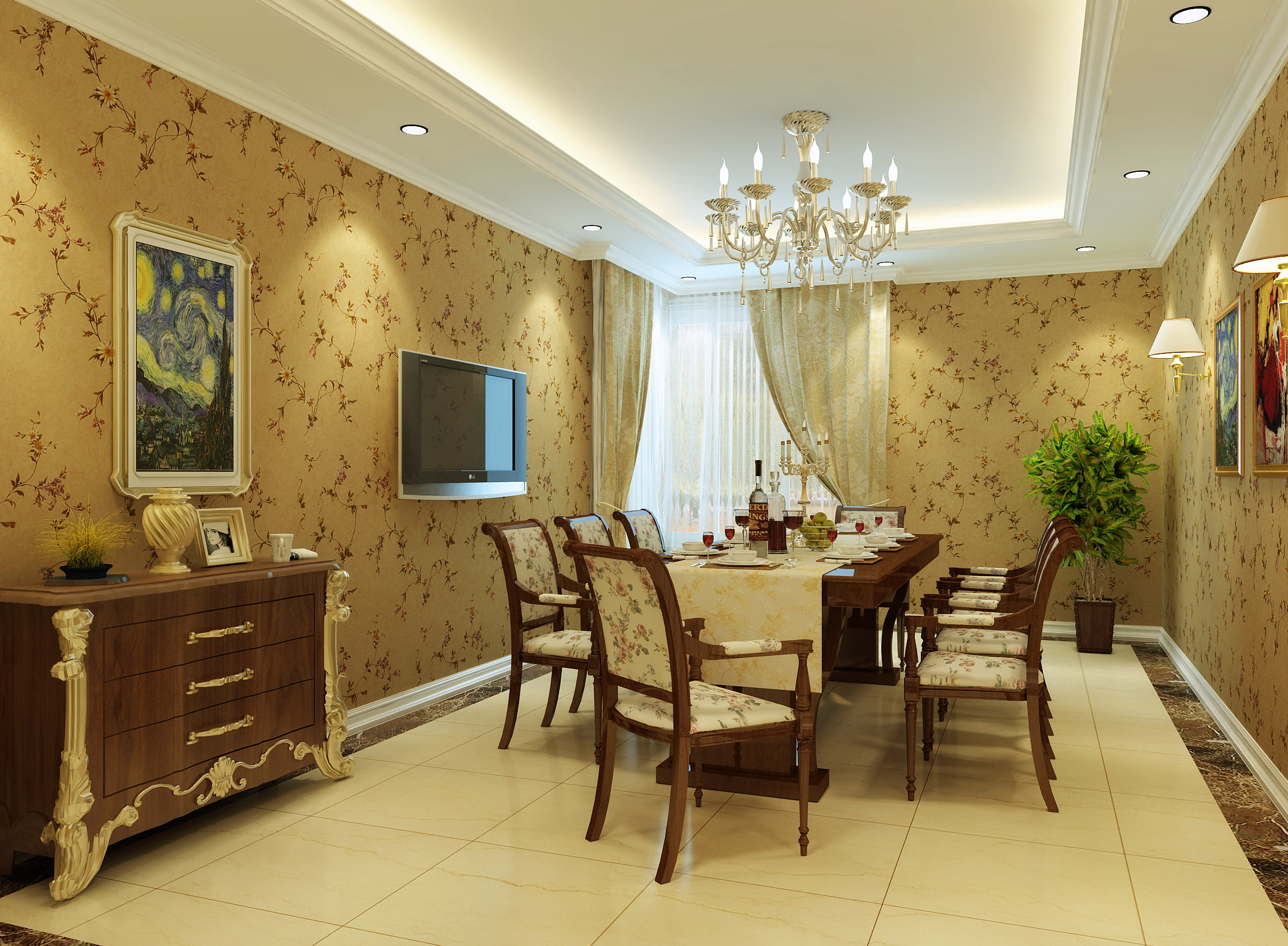 Charmant ... Dining Room With Tv And Wall Painting 3d Model Max 2