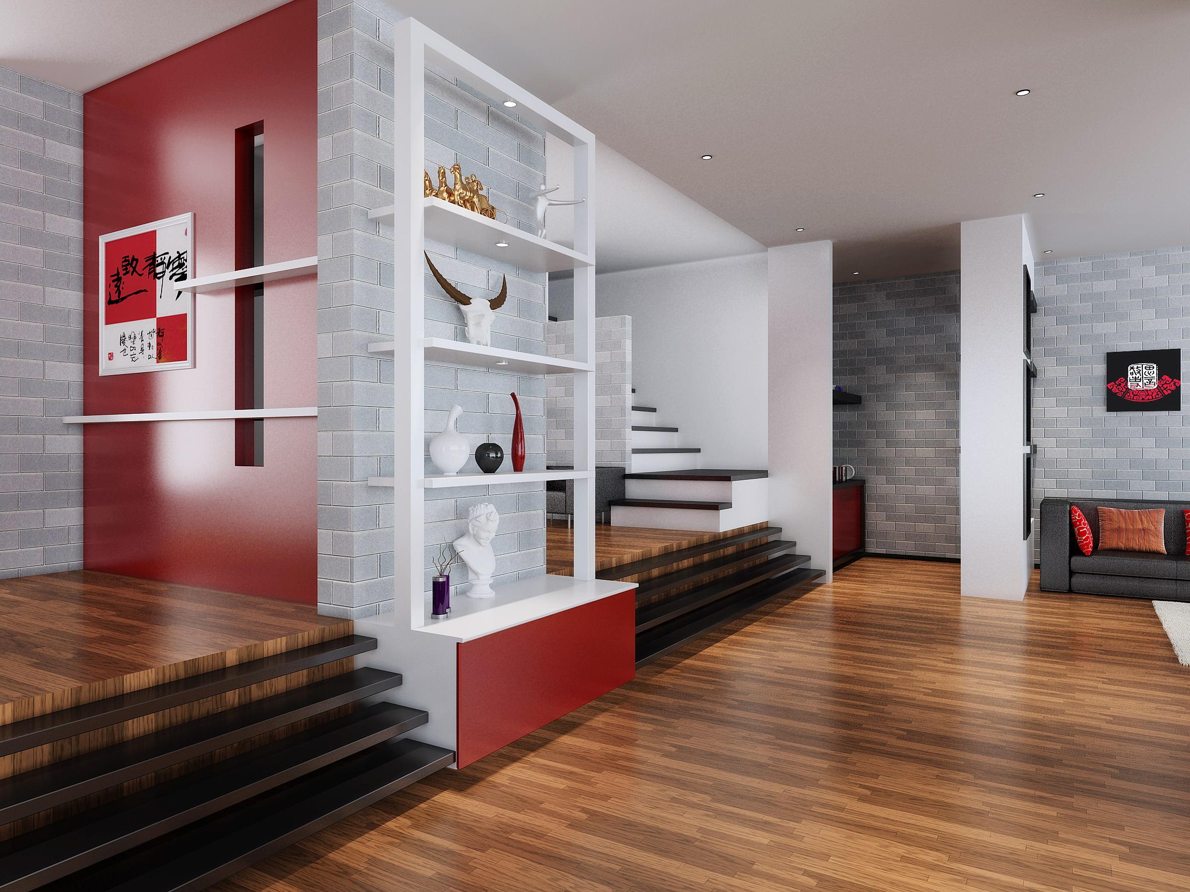 drawing room with red designer walls 3d model max 5 - Designer Walls