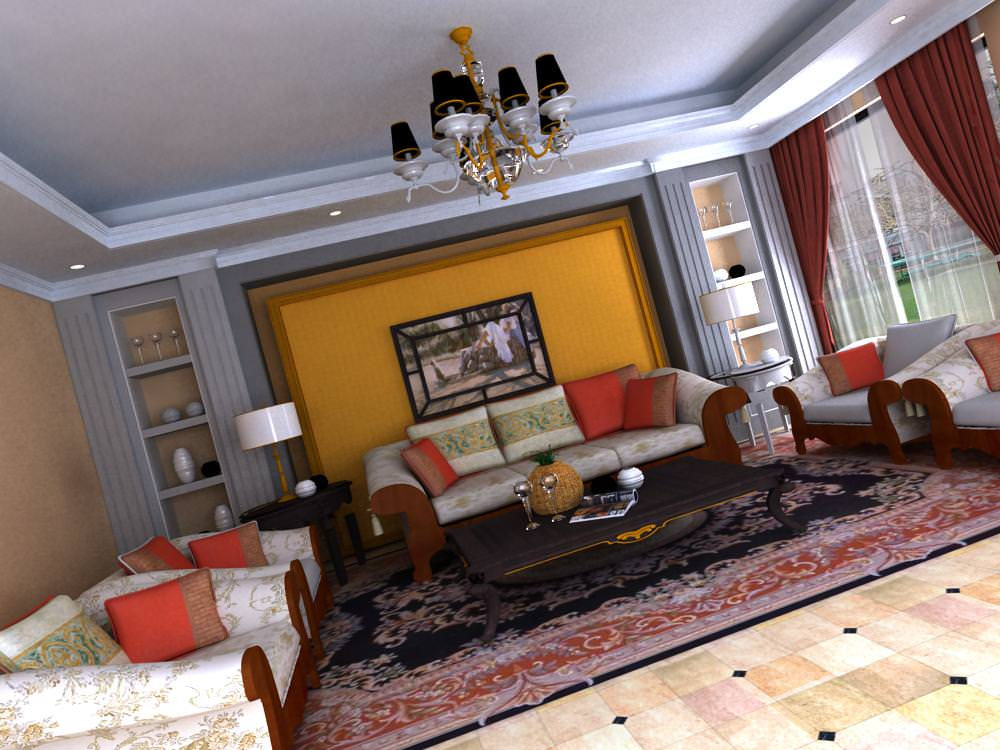 Drawing room with luxurious carpet 3d model max for Aleso3d interior 026 lounge room