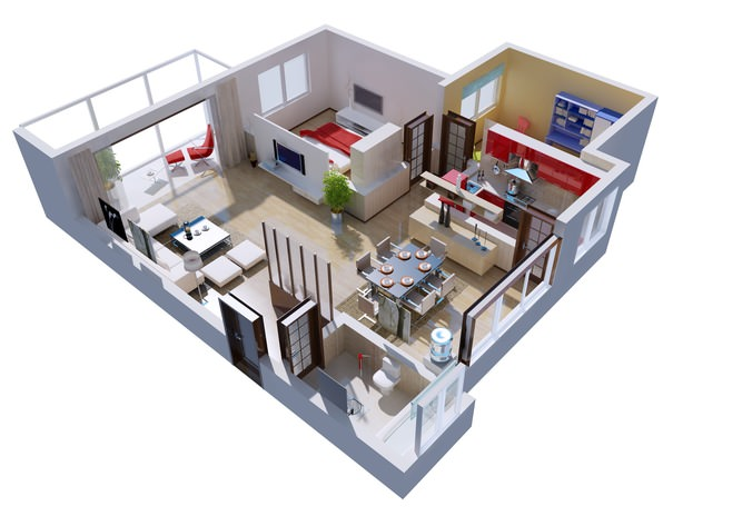 Living room interior design apartment modern max scene with all furniture models best free - Desks small space model ...