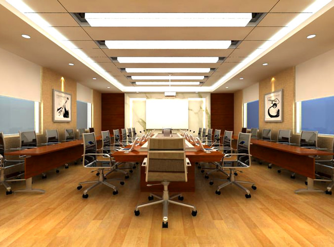 Conference Hall With Ceiling Spot Lights 3D Model MAX