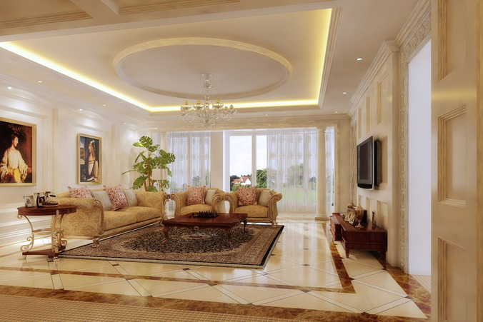 Superb Living Room With Grand Wall Paintings 3D Model