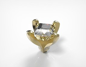 Jewelry Golden Part With Square Diamond 3D print model