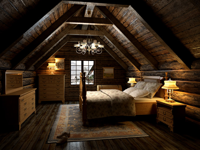 3d Bedroom In The Attic Cgtrader