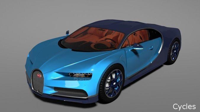 bugatti chiron 2017 3d model rigged obj fbx blend mtl 1