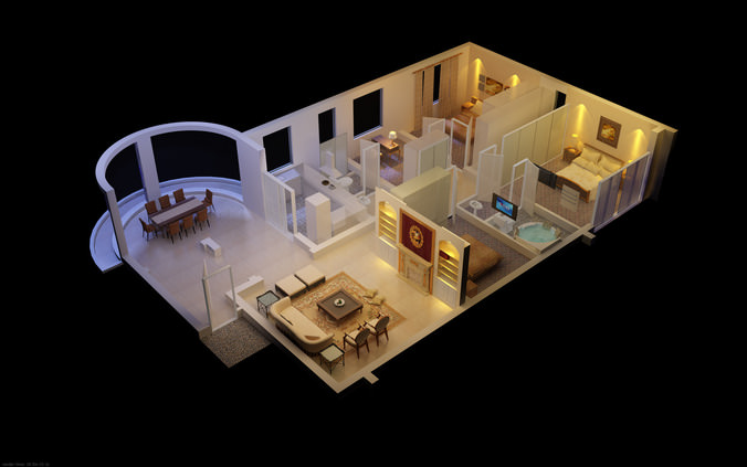 3d luxurious house with designer interior cgtrader - Model designer interiors ...
