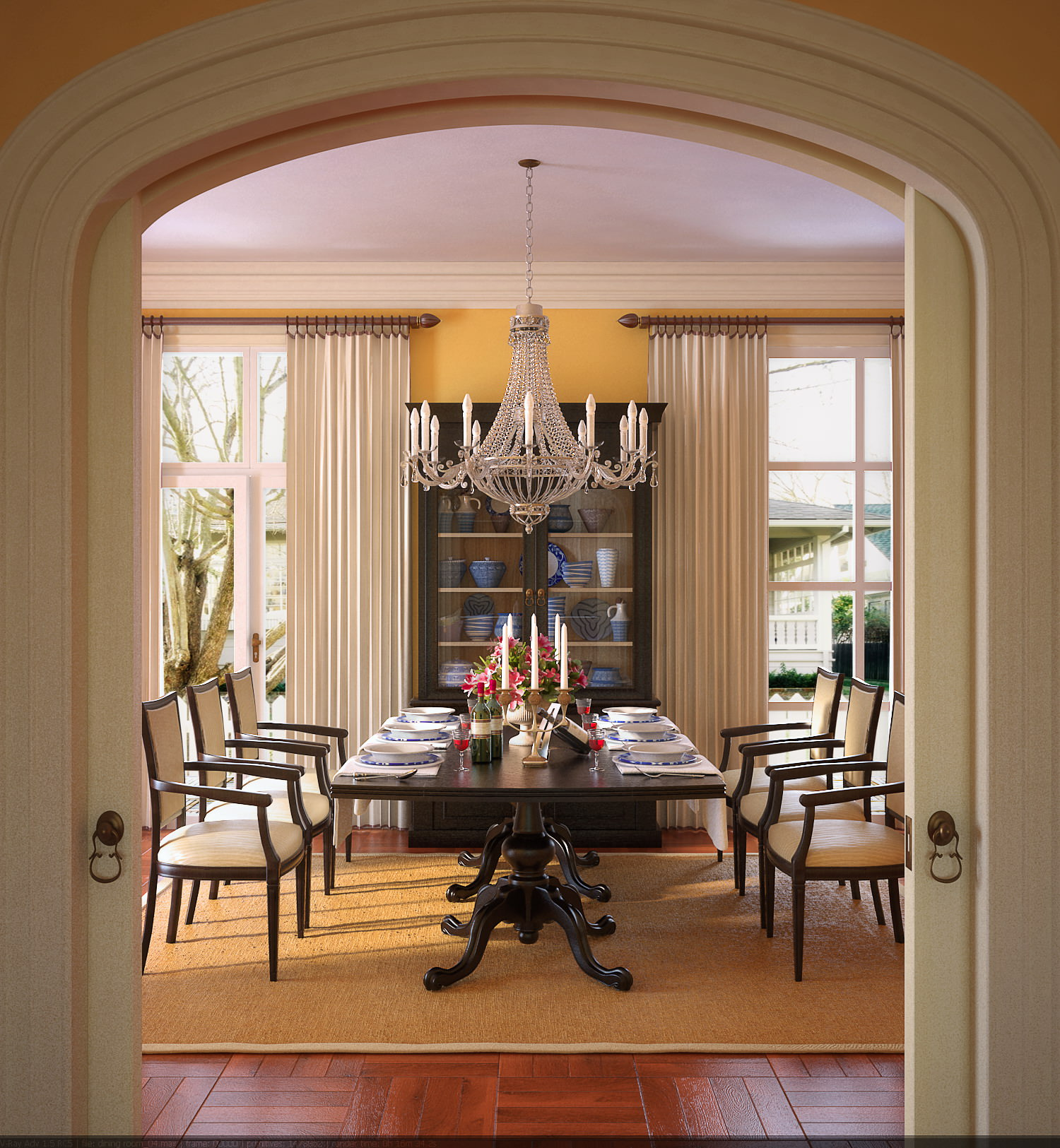 dining room with designer showcase 3d model max