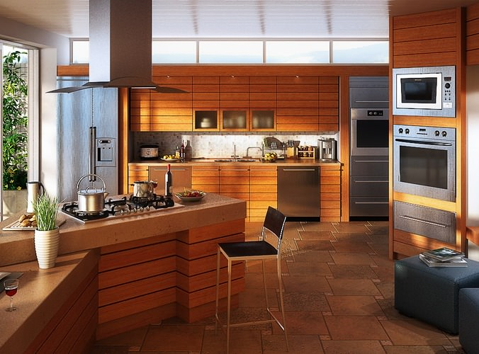 Kitchen With Built In Microwave Oven 3d Model Cgtrader