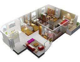 Flat with Exquisite Interior 3D model