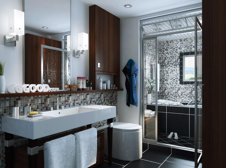 Bathroom with designer tiled walls 3d model max for Bathroom creator 3d