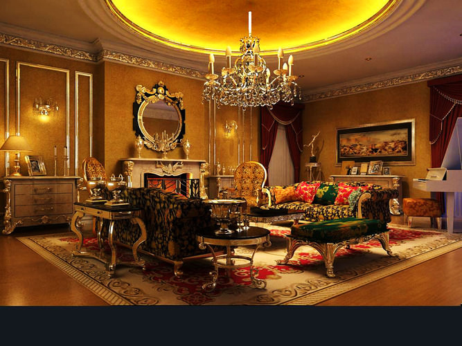 Living Room With Royal Interior 3d Model Cgtrader