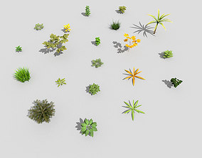 low poly plants collection 3D asset VR / AR ready