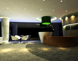 3d model exclusive reception space with marble floor