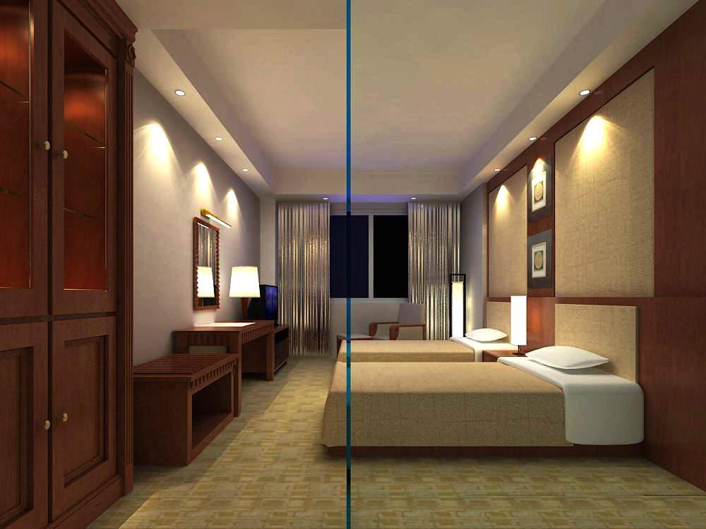Twin Bed Guest Room 3d Model Max