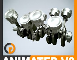 Animated V8 Engine Cylinders 3D Model