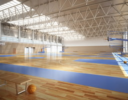 3d broad basketball arena with multiple courts