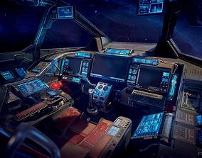 3D asset Scifi Heavy Fighter Cockpit