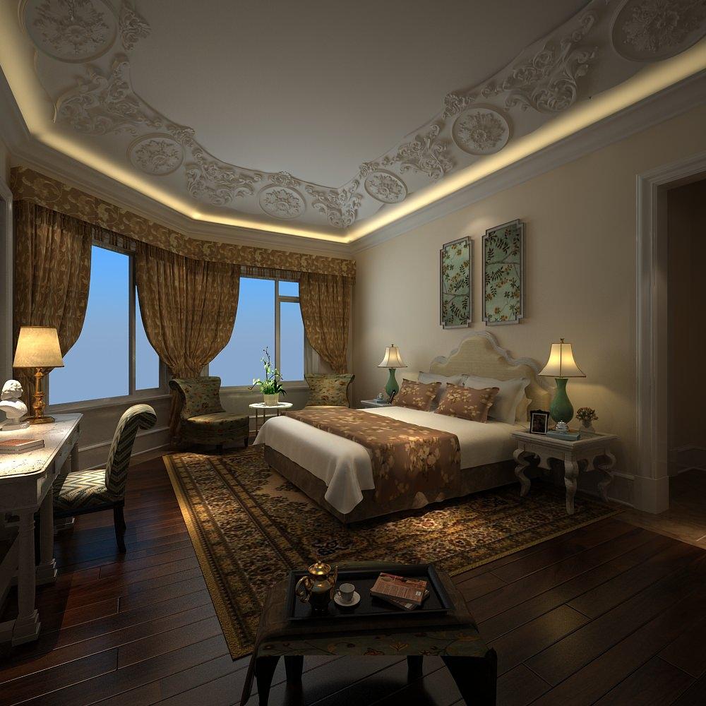 dark colors bedroom 3d model max