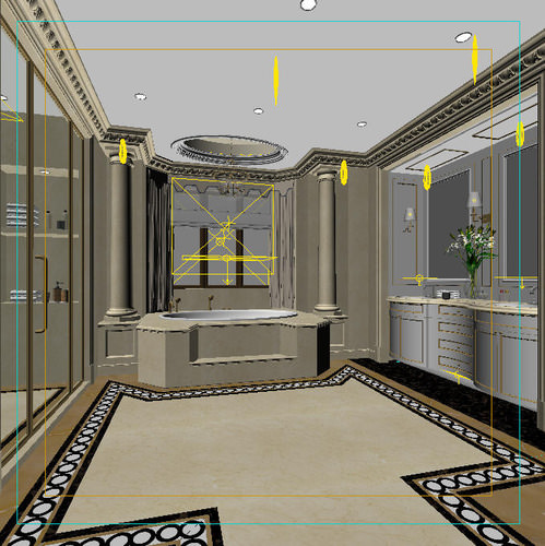 Luxury bathroom with huge bath 3d model max for Bathroom design 3d model