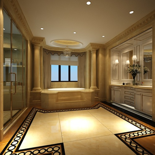 Luxury Bathroom With Huge Bath 3d Model Cgtrader
