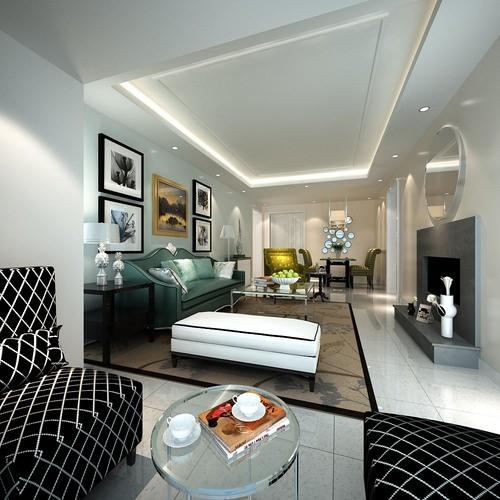 Modern design spacious living room 3d model max for Living room designs 3d model