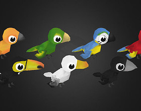 3D asset Low Poly Toon Birds Package
