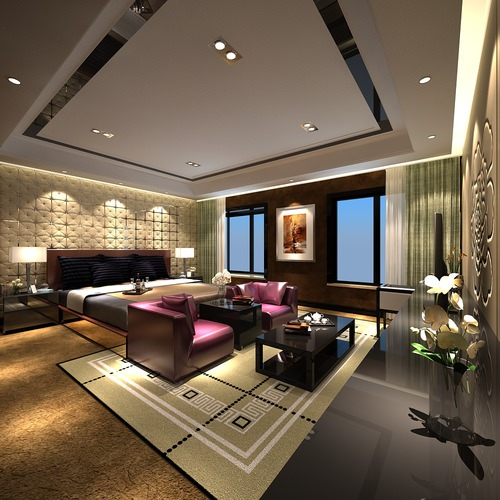 Model Luxury Home Interiors: Modern Interior Luxury Bedroom 3D Model MAX