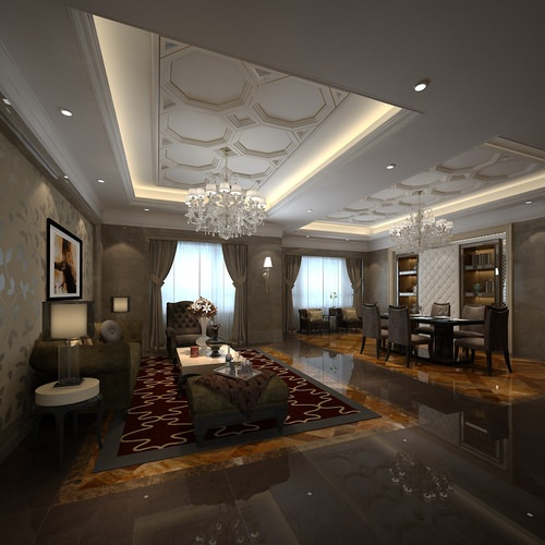 Fancy living room combined with dining room 3D model MAX
