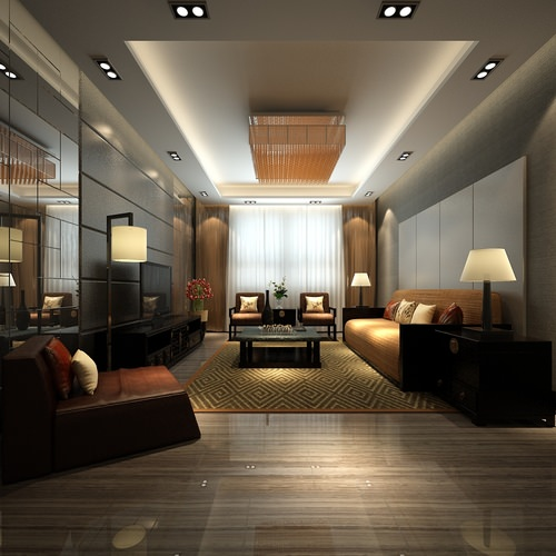 modern living room with mirror 3d model max