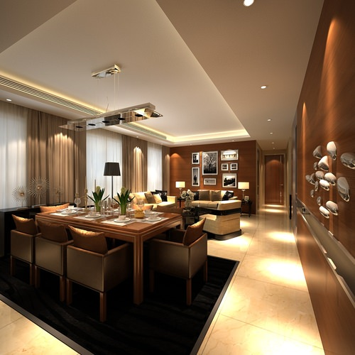Dining room combined with living room 3d model max for Dining room 3d max model