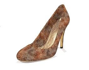 Snakeskin Heels Game Ready Shoe Asset 3D model