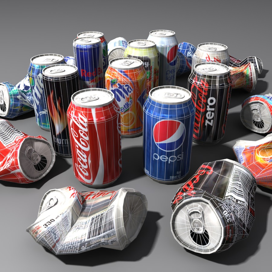 3d model soda cans lowpoly cgtrader