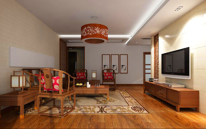 Living room with decor rug 3d model max for Living room ideas 3d