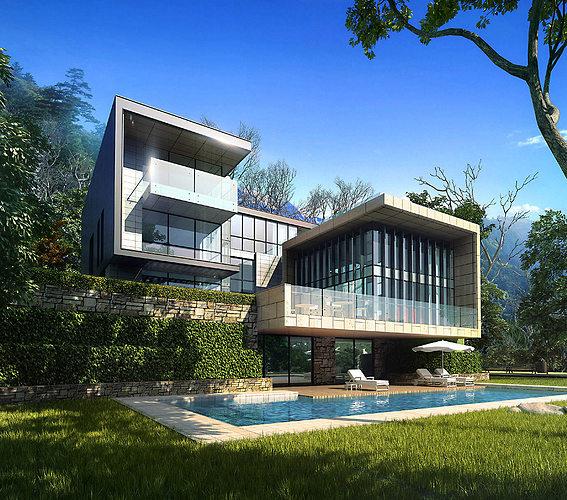 3d villa 022 cgtrader for 3d max house model