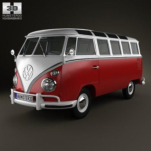 volkswagen transporter t1 1950 3d model max obj 3ds fbx c4d lwo lw lws 1