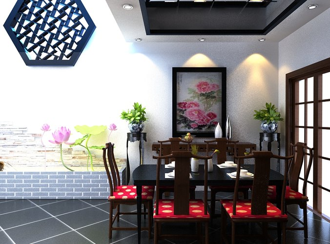 3d model home dining space with posh wall decor cgtrader for Decor 3d model