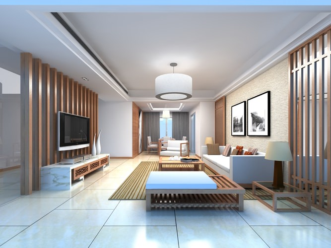 Home living room with classy sofa 3d model max Model home family room pictures