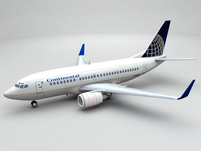 boeing 737-500 airliner - continental 3d model max obj mtl 3ds dxf stl wrl wrz 1