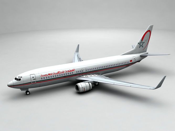 boeing 737-800 ng airliner - royal air maroc 3d model low-poly max obj 3ds dxf stl wrl wrz 1