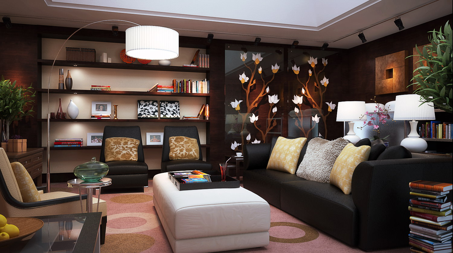 Living Room With Exquisite Wall Showcase Model Max 1