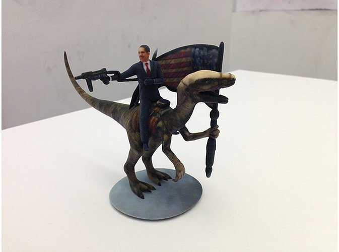 obama with a rocket launcher and smg riding a velociraptor 3d model wrl wrz 1