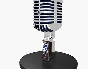 3D model low-poly Vintage Microphone
