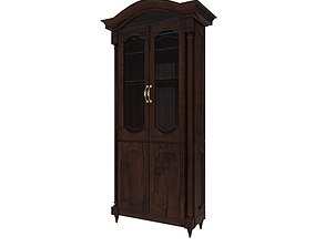 Large Wood Glass Cabinet 3D model game-ready