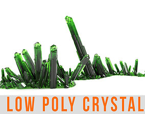 Crystal Diamond Emerald Field Low poly 3D model game-ready